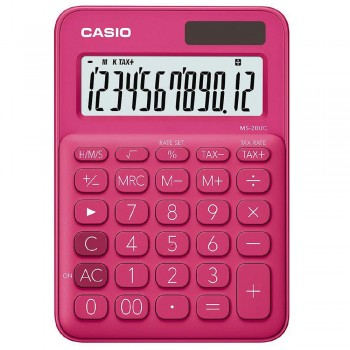 Casio Colourful Calculator - 12 Digits, Solar & Battery, Tax & Time Calculation, Red (MS-20UC-RD)