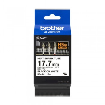 Brother HSe-241 Genuine Heat Shrink Tube, 17.7mm Black on White