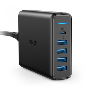 Anker A2056 PowerPort PD with 1PD and 4 PIQ - 60W 5-Port Desktop Charger - Black