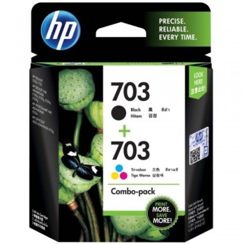 HP 703 Combo Pack Black/Tri-color Original Ink Advantage Cartridges (F6V32AA)