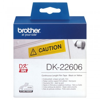 Brother DK22606 Black on Yellow Continuous Length Film - 62mm x 15.24m