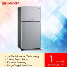 SharpSHP-SJP60MFMS Pelican Metal Silver 2-Door J-Tech Inverter Series Refrigerator (610L)